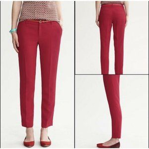 Banana Republic Martin Fit Red Crepe Ankle Pants